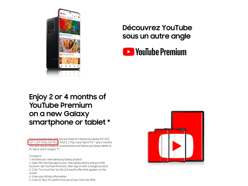 Advertisement on Samsung's French website cites the upcoming Galaxy S21 FE.