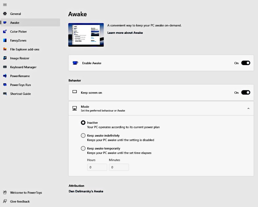 PowerToy Awake won't let the PC go to sleep (Source: Microsoft/Publishing.)