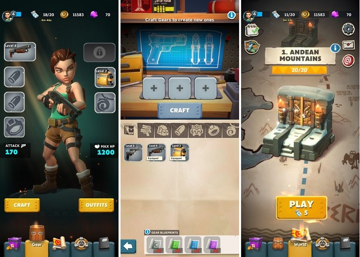 Tomb Raider with typical mobile game mechanics