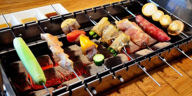 台中西區燒烤_爵 旋轉串燒 炭烤 英式工業風│轉吧~轉吧~不用自己動手就可以烤肉囉!