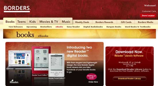 Borders Rolls Out eBook Store