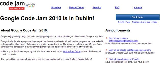 Google Code Jam 2010 Registration Opens