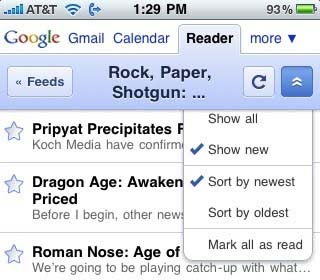 Google Reader's Mobile Interface Upgraded