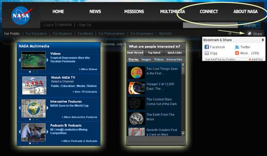 NASA Adds New Features To Its Website