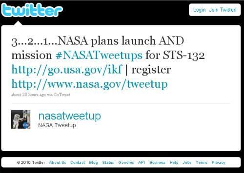 NASA Invites Twitter Users To Next Shuttle Launch
