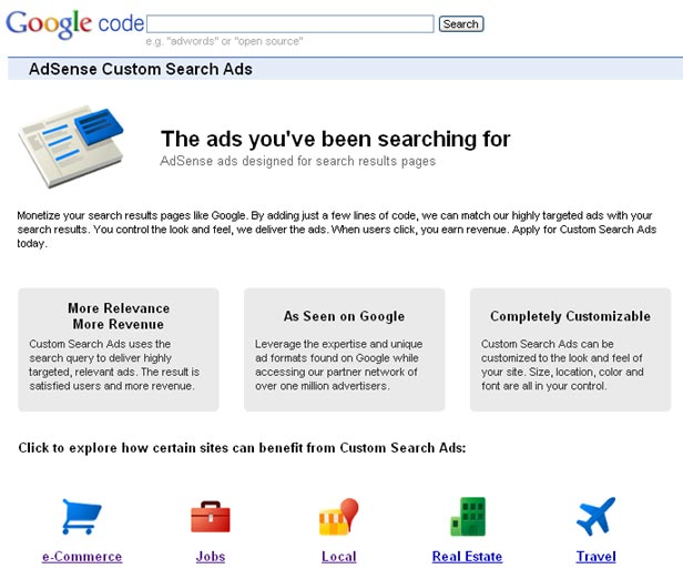 Custom Search Ads for AdSense