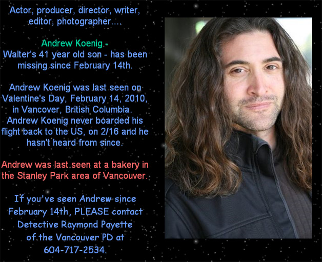 Andrew Koenig Missing