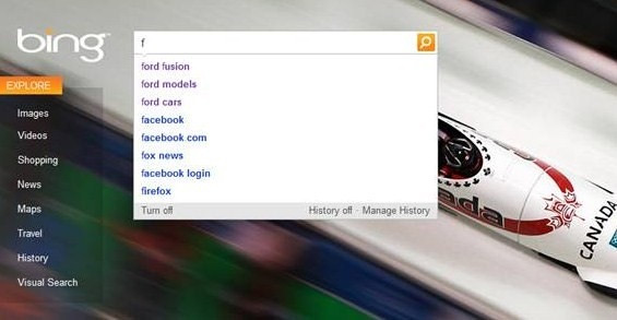 Bing suggests queries based on history