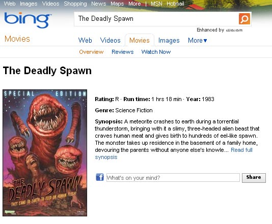 Bing Movies Shareable on Facebook