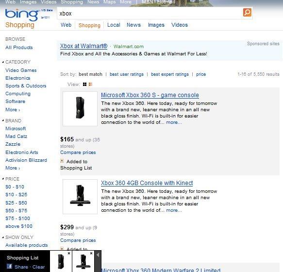 Bing Shopping Facebook integration