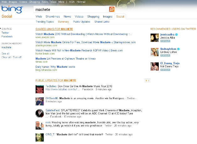 Bing Social - Twitter Recommendations