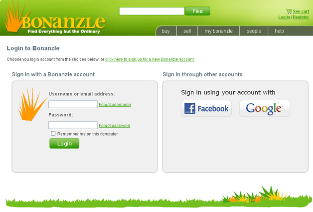 Bonanzle Allows you to sign in with Google or Facebook accounts