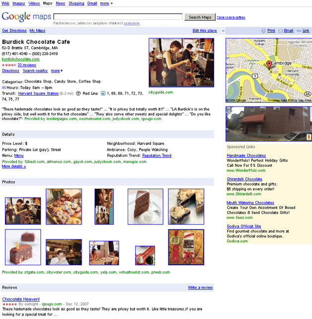 Place Page for Burdick Chocolate Cafe