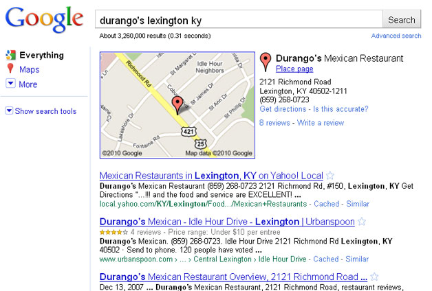 Durango's Search - Yelp Not Near the top, Place Pages are