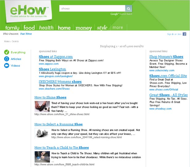 eHow Custom Search Ads