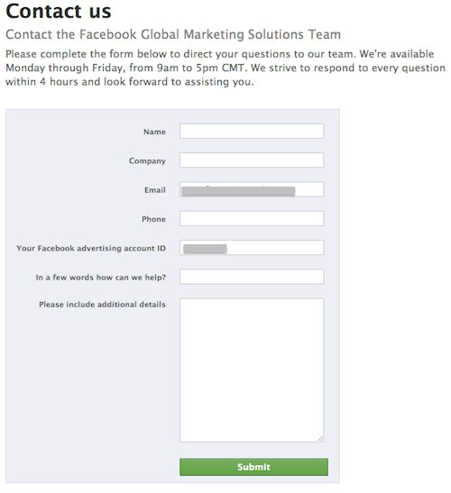 Facebook Ad Dashboard Acquires Contact Form