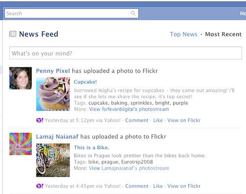 Flickr, Facebook integration