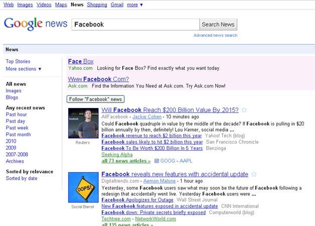 Follow Facebook News on Google News