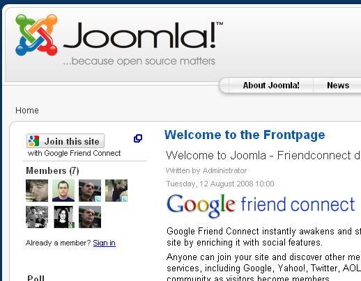 Friend Connect on Joomla