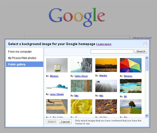 Google Background images