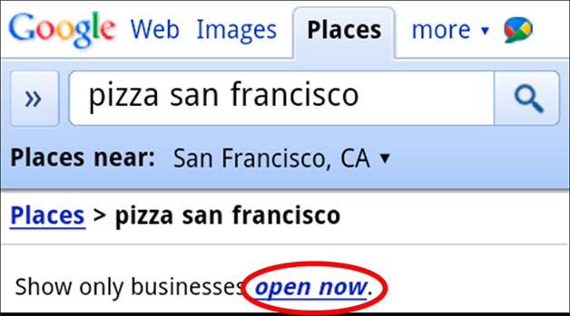 Google Open Now Results