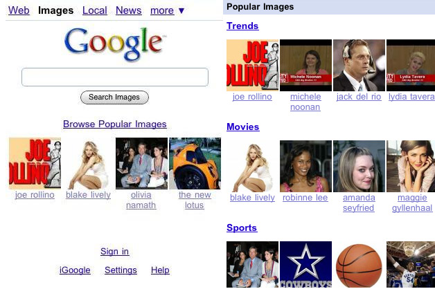 Google Gives Mobile Users a Link to Popular Images