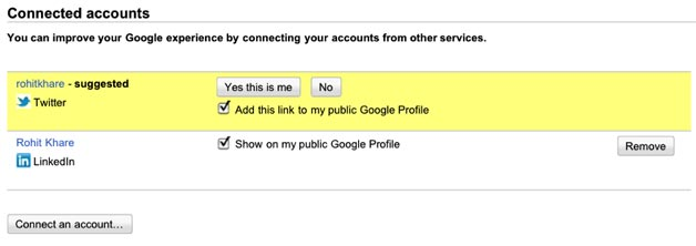 Google Social Update - Connected Accounts