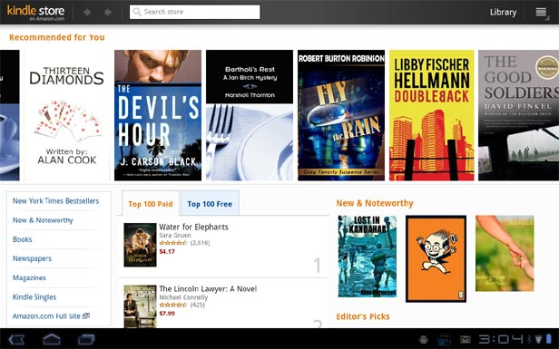 Kindle Store Search on Honeycomb