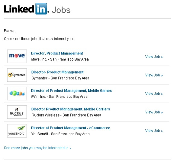 LinkedIn Jobs Alert emails