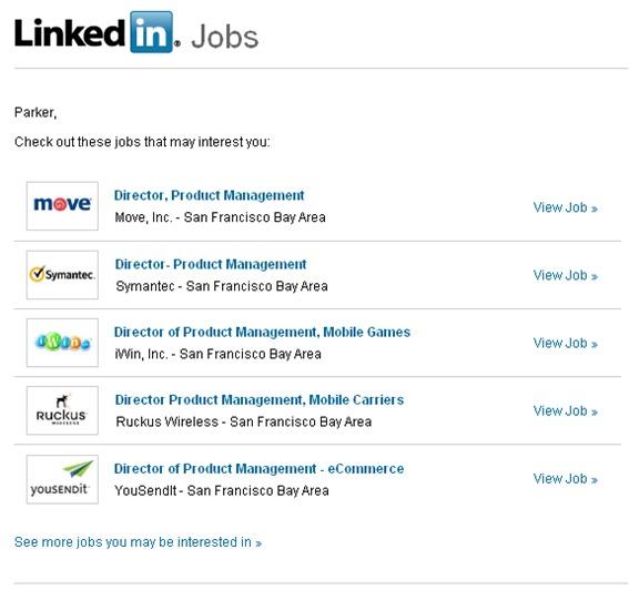 LinkedIn Jobs Alert emails