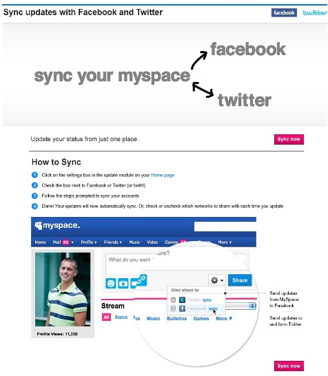 MySpace Users Can Now Sync Accounts with Facebook Profiles, Pages