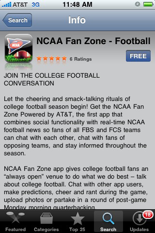AT&T and NCAA Launch College Football iPhone App