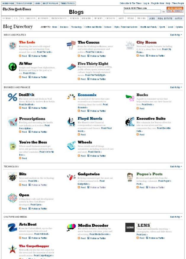 New York Times Blog Directory