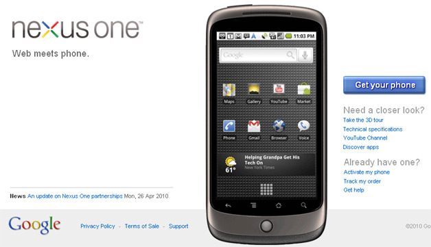 Google Opening Up Retail Options for Nexus One
