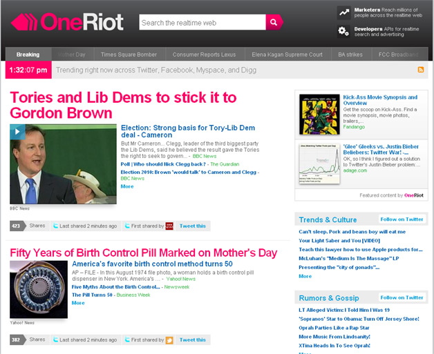 OneRiot Launches Trending Topics Engine