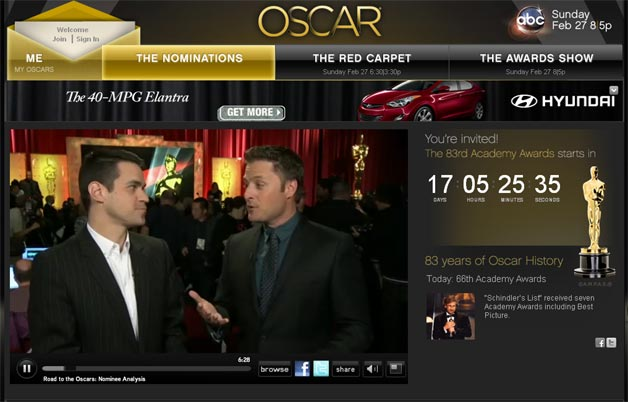 Oscar Website to have all kinds of live coverage