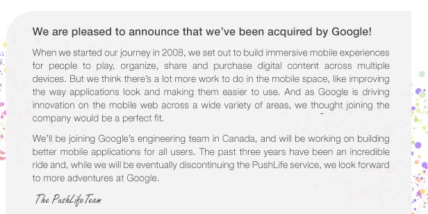 PushLife bought by Google