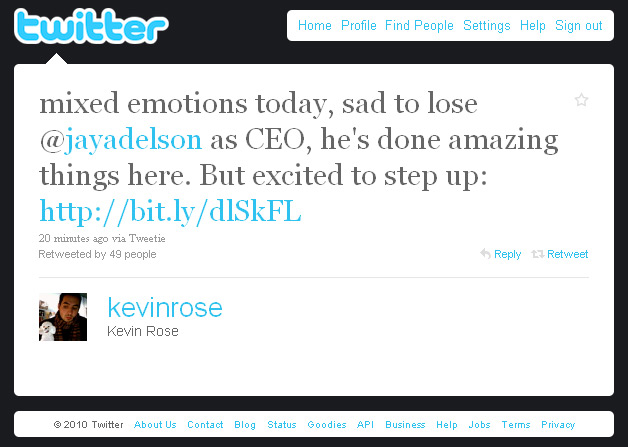 Kevin Rose tweets about Jay Adelson stepping down from Digg CEO position