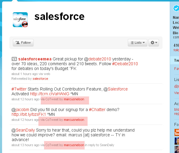 """Twitter """"Contributors"""" Feature Spotted on Salesforce Account"""