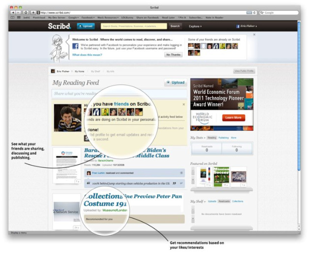 Scribd Gets Facebook Instant Personalization