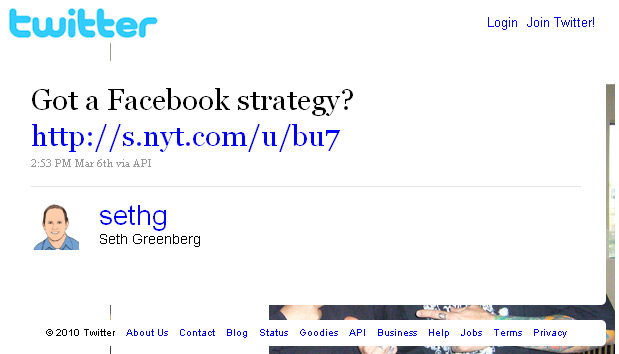Seth Greenberg of Intuit tweets about having a Facebook strategy
