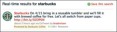 Starbucks Promoted Tweet (Via AdAge)