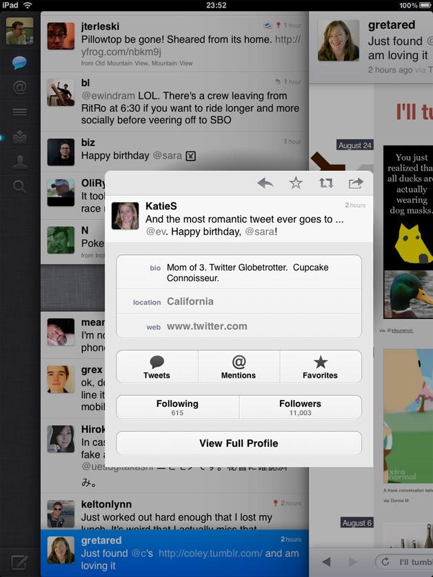 Gestures in Twitter iPad App