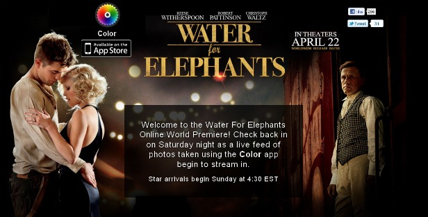 Water for Elephants, Color App Partner Up for Premiere