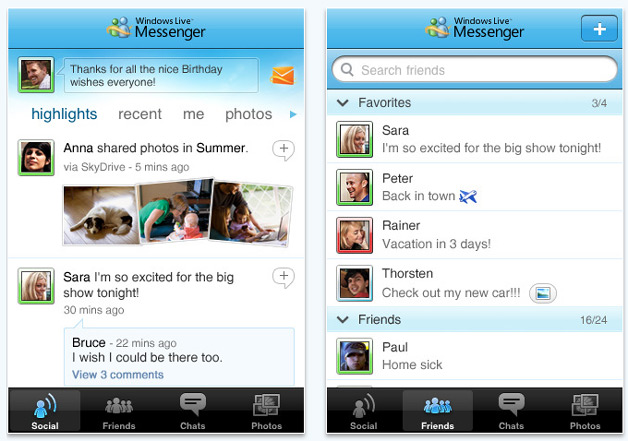 Windows Live Messenger iPhone app