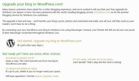 Live Spaces Goes WordPress
