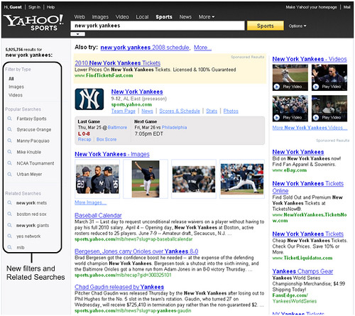 Yahoo Sports Search features