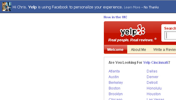 Yelp Facebook Implementation - Are there greater security issues?