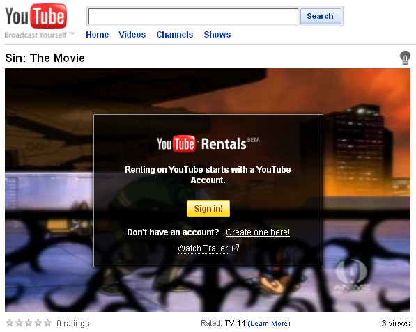 YouTube - Sin: The Movie Rental