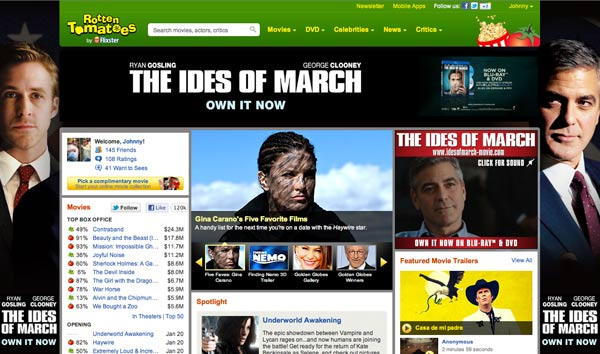 Rottentomatoes front page